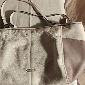 White and Lilac Coach Purse